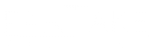 white logo for ParTake Kitchen Takeout Restaurant in Medina Ohio